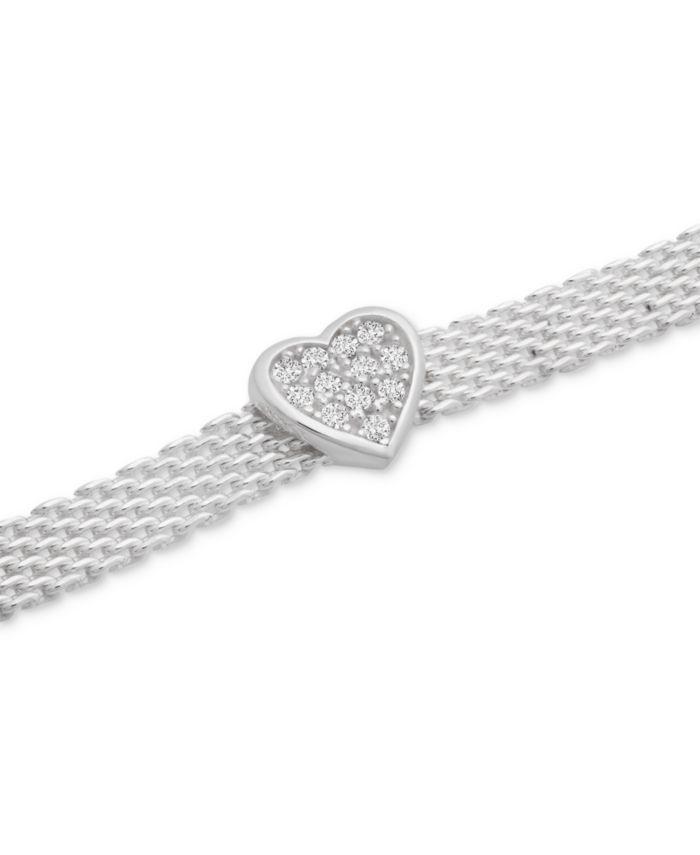 Macy's Cubic Zirconia Heart Mesh Link Bracelet in Sterling Silver & Reviews - Bracelets - Jewelry & Watches - Macy's