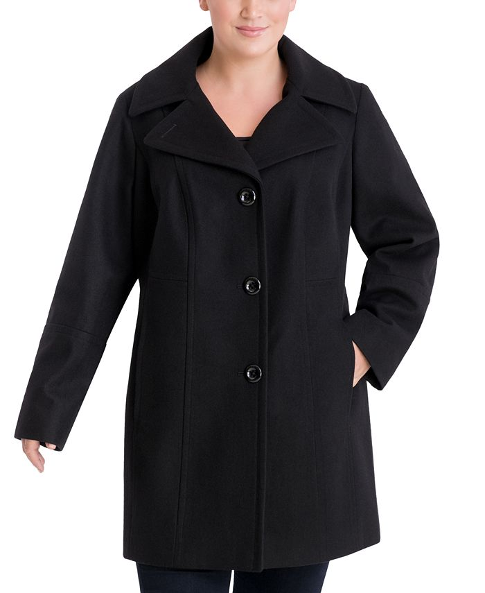 Anne Klein - Plus Size Single-Breasted Peacoat