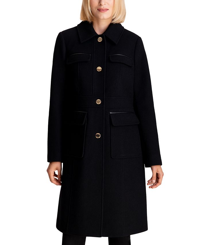 Michael Kors - Faux-Leather-Trim Walker Coat