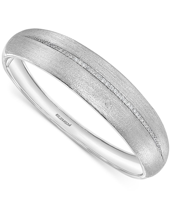 EFFY Collection - Diamond Satin Finish Bangle Bracelet (1/3 ct. t.w.) in Sterling Silver