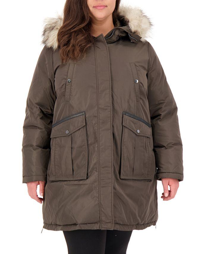 Vince Camuto - Plus Size Faux-Fur-Trim Hooded Puffer Coat
