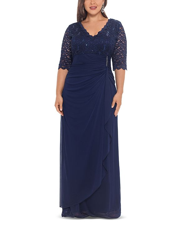 Betsy & Adam Plus Size V-Neck Gown