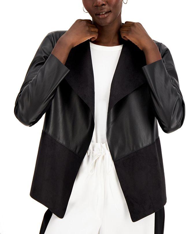 Alfani Knit-Back Mixed-Media Jacket, Created for Macy's