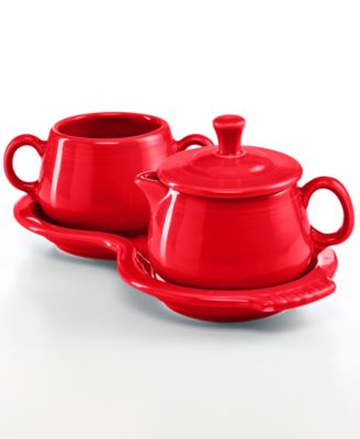 Fiesta Scarlet Sugar and Creamer Set