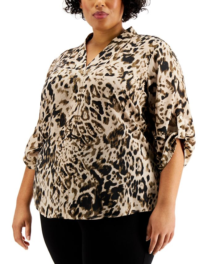 Calvin Klein - Plus Size Pleated-Trim Roll-Sleeve Top