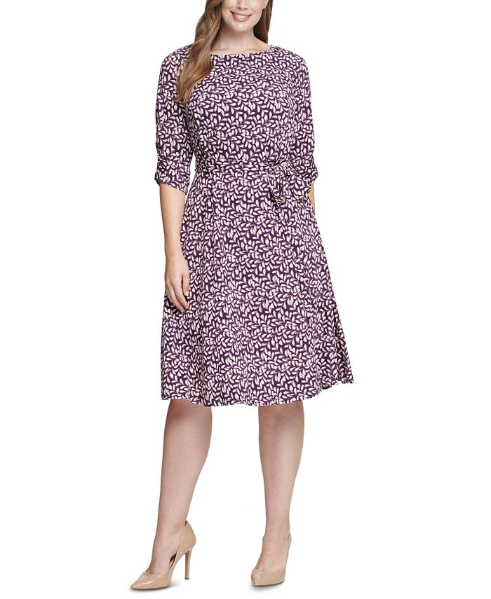 Jessica Howard - Plus Size Printed Ruched-Sleeve Dress