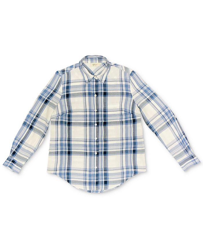 Style & Co - Petite Plaid Boyfriend Shirt