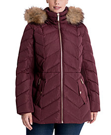 Michael Michael Kors Plus Size Faux-Fur Trim Hooded Down Puffer Coat, Created for Macy's