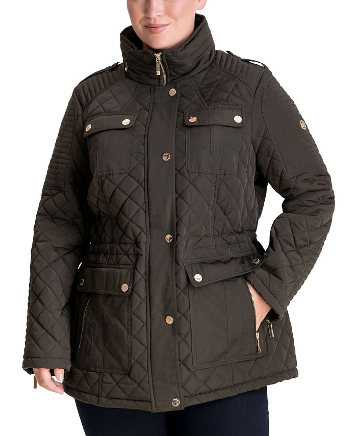 Michael Kors - Plus Size Hooded Quilted Coat