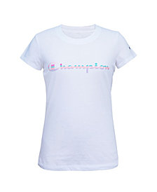 Champion Big Girls Rainbow Script Tee