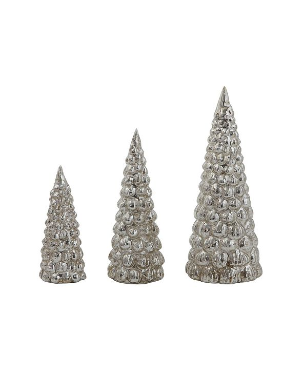 CREATIVE CO-OP INC Embossed Mercury Glass Trees Set of 3 Sizes