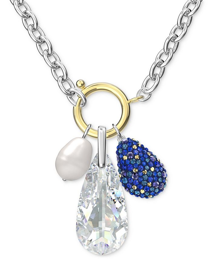 Two-Tone Crystal & Imitation Pearl Removable Charm Water Pendant Necklace,  17-5/8 + 2 extender