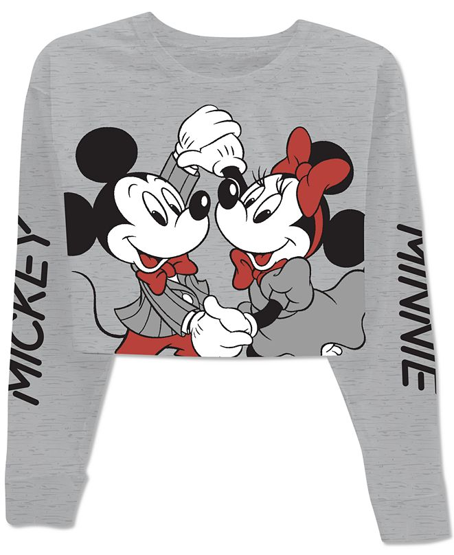 Disney Juniors' Mickey & Minnie Cropped Long Sleeve T-Shirt
