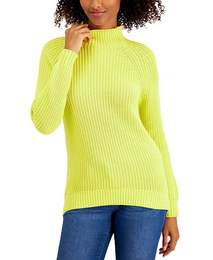 Style & Co - Petite Cotton Funnel-Neck Sweater