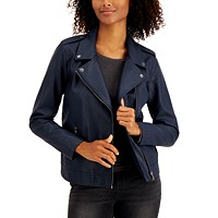 Deals on Style & Co Mens Faux-Leather Moto Jacket