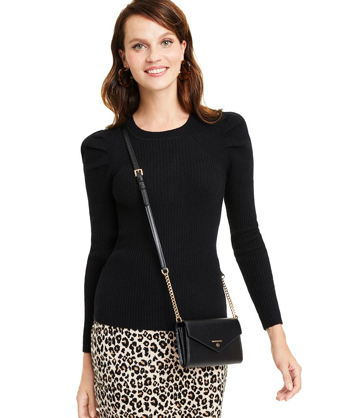 Charter Club - Puff-Sleeve Ribbed Cashmere Sweater