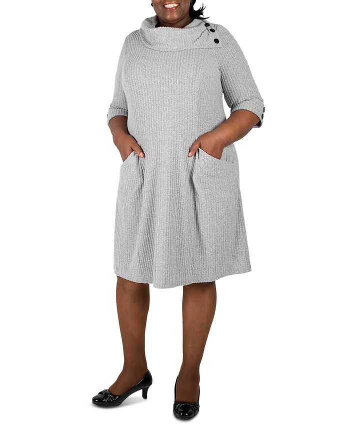 Robbie Bee - Plus Size Cowlneck Knit Sweater Dress