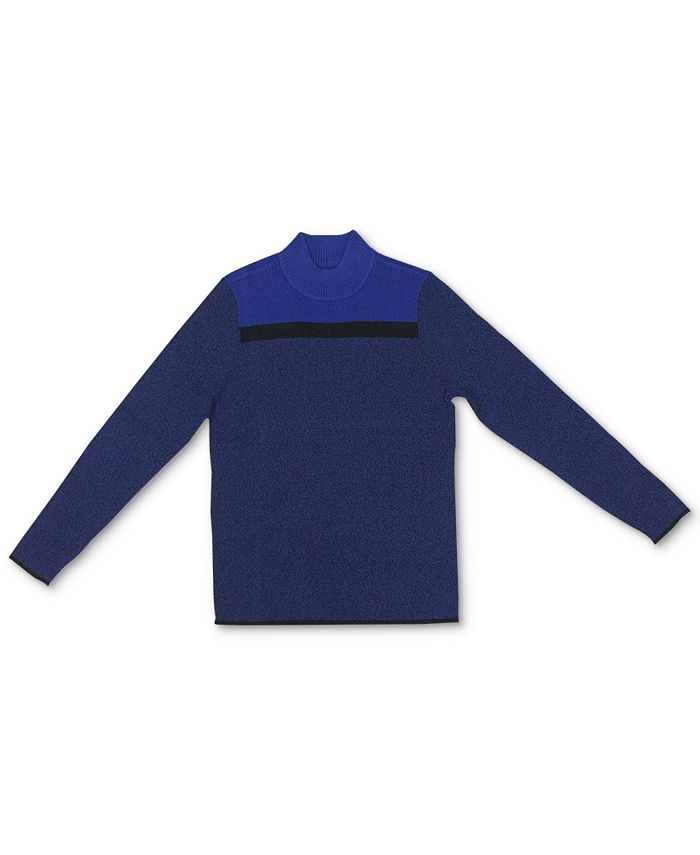 Karen Scott - Alex Cotton Colorblocked Mock-Neck Sweater