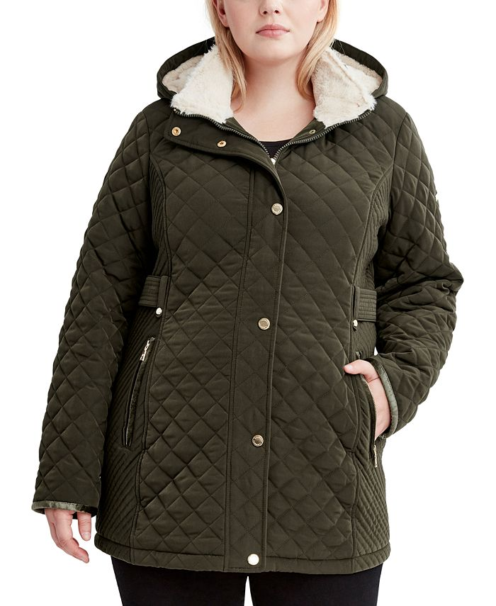 Laundry by Shelli Segal - Plus Size Faux-Sherpa-Lined Quilted Coat