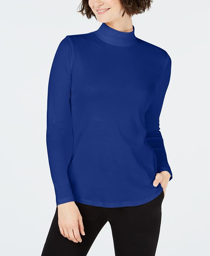 Charter Club - Cotton Mock-Neck Top