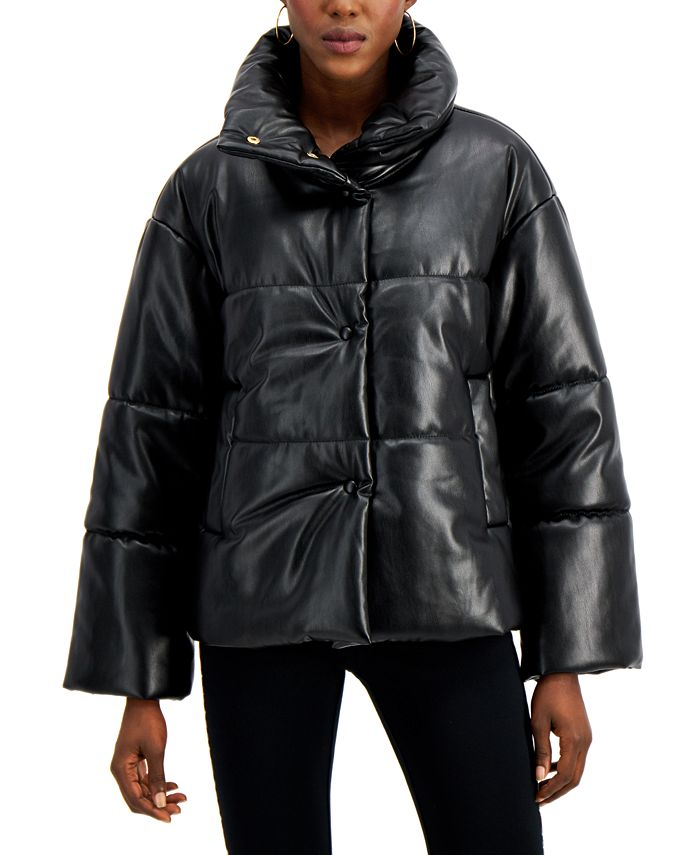 INC International Concepts - Faux-Leather Puffer Coat