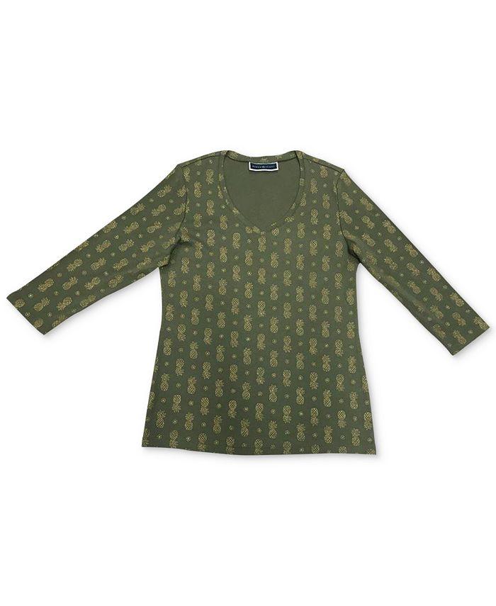 Karen Scott - Plus Size Printed V-Neck Top