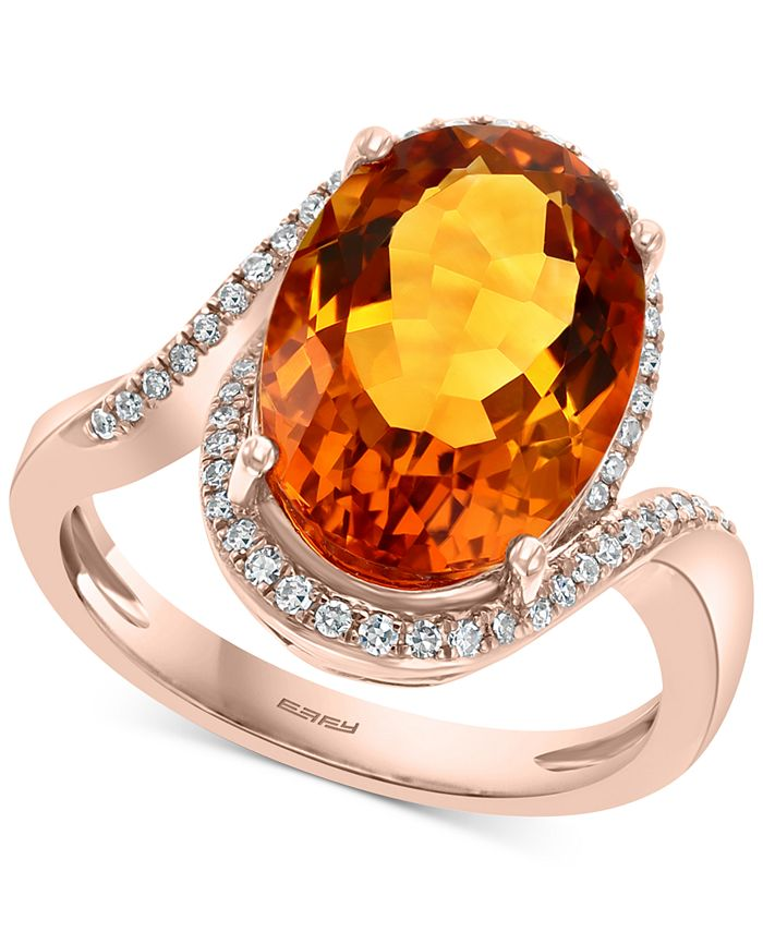 EFFY Collection - Madera Citrine (6-5/8 ct. t.w.) & Diamond (1/5 ct. t.w.) Ring in 14k Rose Gold