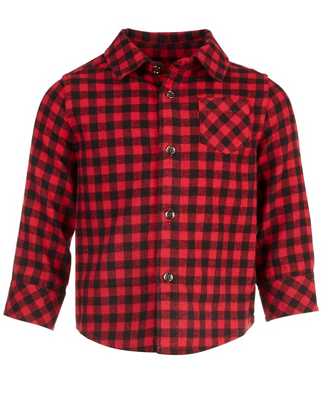 First Impressions Baby Boys Check Flannel Shirt, Created for Macy's