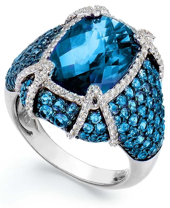 Macy's - Blue Topaz (11-1/10 ct. t.w.) & White Topaz (1/2 ct. t.w.) Ring in Sterling Silver