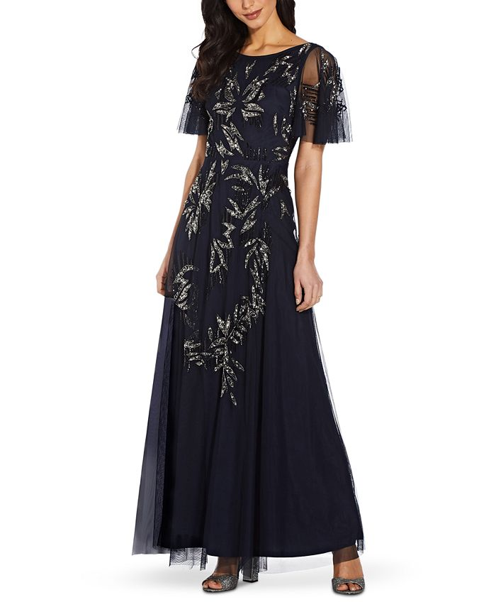 Adrianna Papell - Flutter-Sleeve Embellished Gown