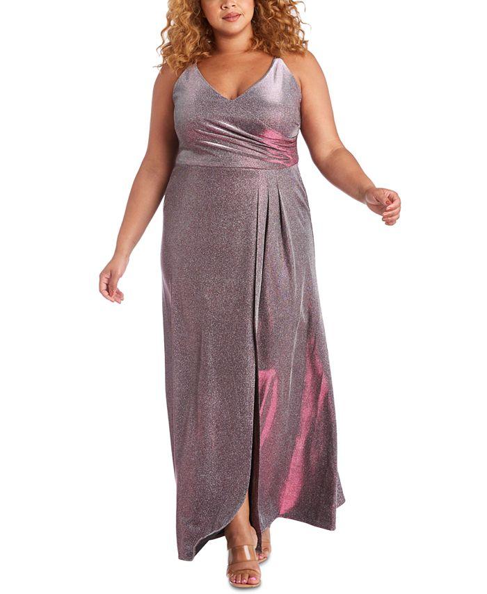 Morgan & Company - Trendy Plus Size Surplice Metallic Gown