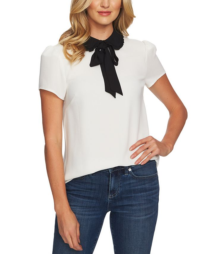 CeCe - Tie-Neck Peter Pan-Collar Top