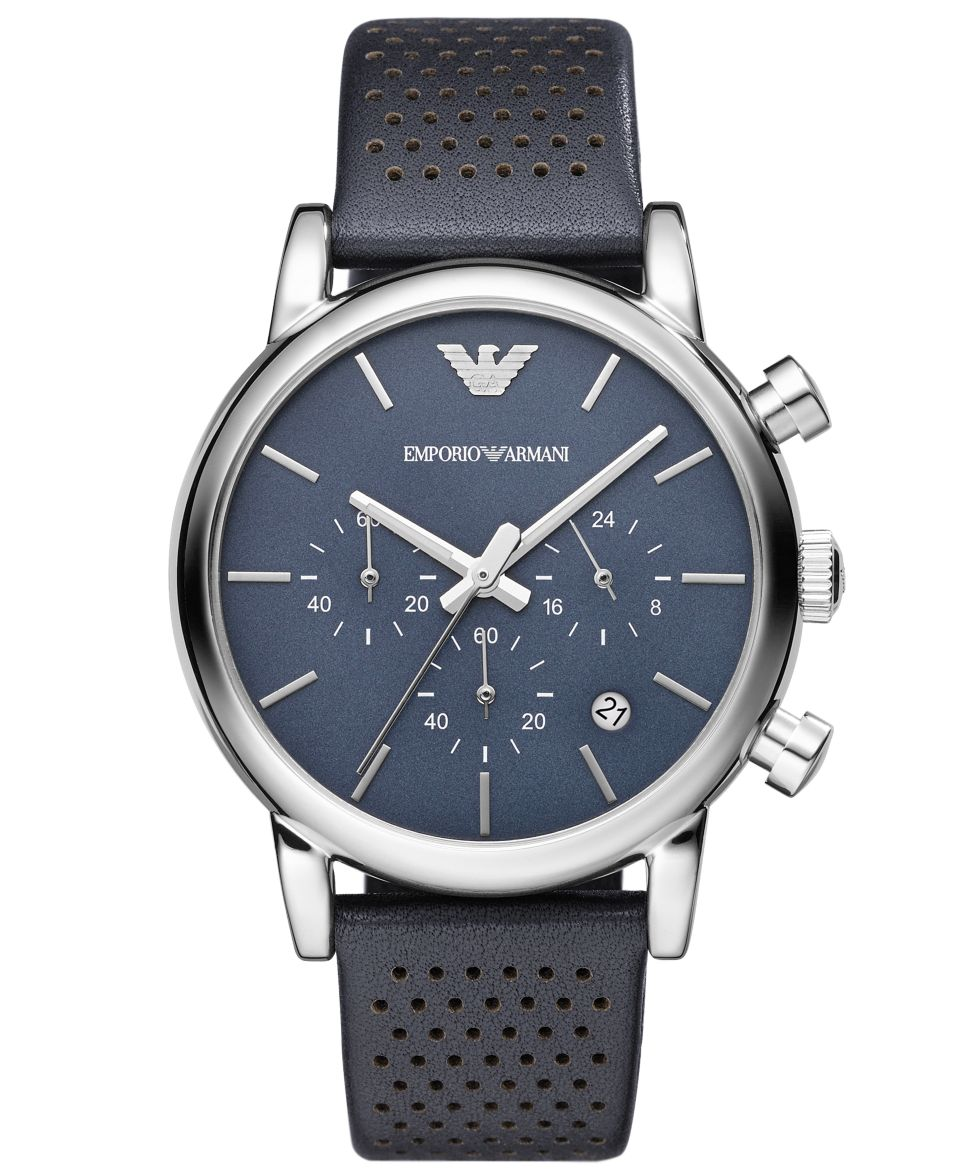 Emporio Armani Watch, Mens Chronograph Gray Leather Strap 41mm AR1735   Watches   Jewelry & Watches