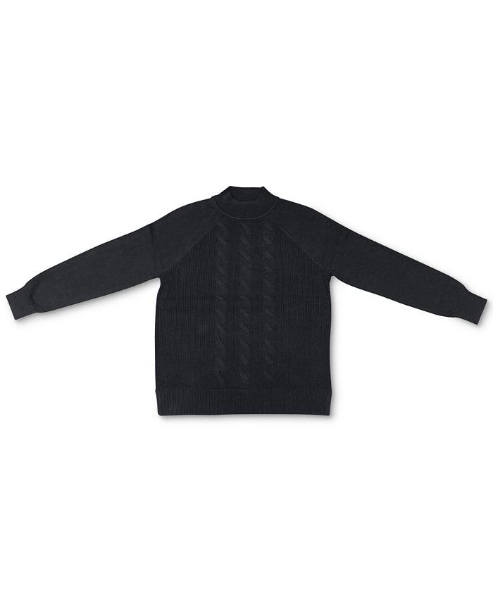 Karen Scott - Cotton Cable-Knit Mock-Neck Sweater