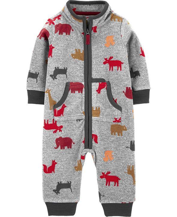 Carter's Baby Boy  Animal Print Fleece Jumpsuit
