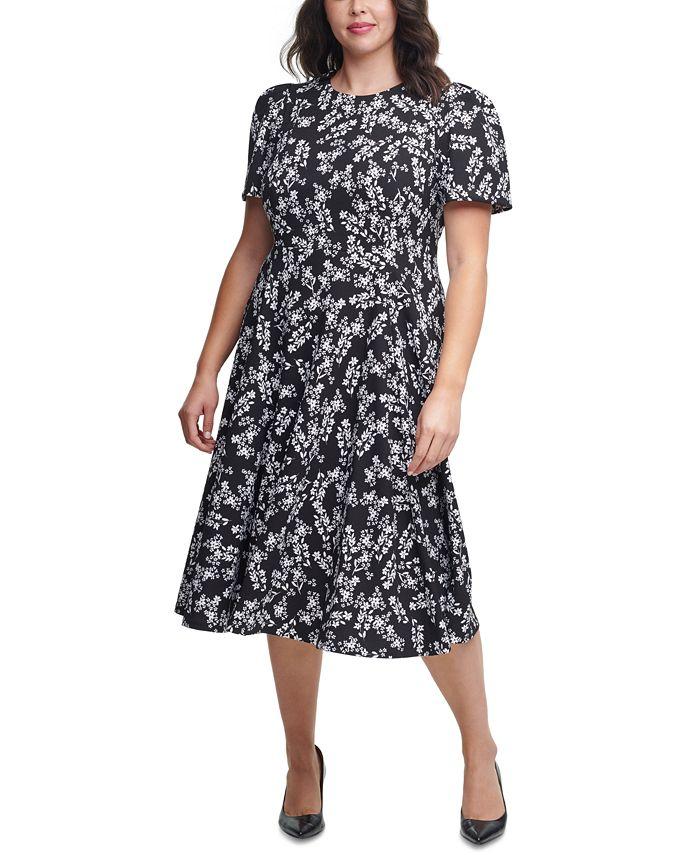 Calvin Klein - Plus Size Ditsy Floral-Print Midi Dress