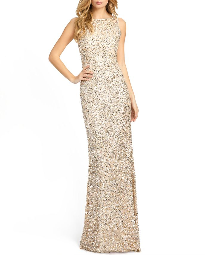 MAC DUGGAL - Sequined Open-Back Gown