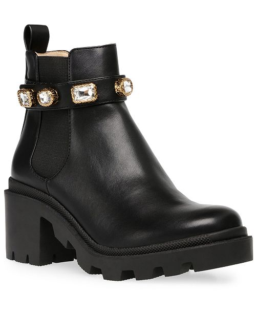 aterrizaje Popa Cha  Steve Madden Women's Amulet Embellished Lug-Sole Booties & Reviews - Boots  - Shoes - Macy's