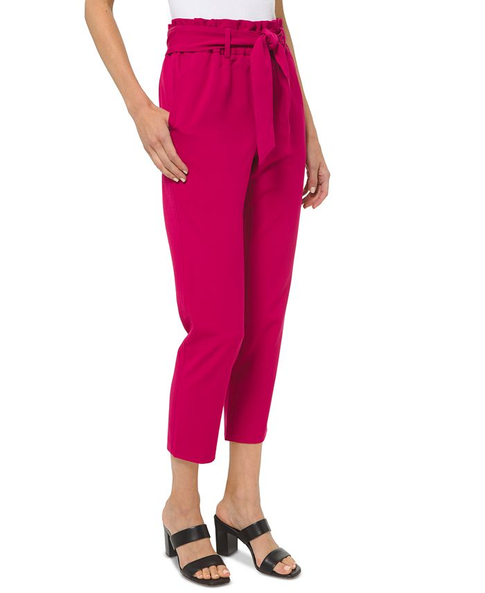 Michael Kors - Plus Size Paperbag-Waist Cropped Pull-On Pants