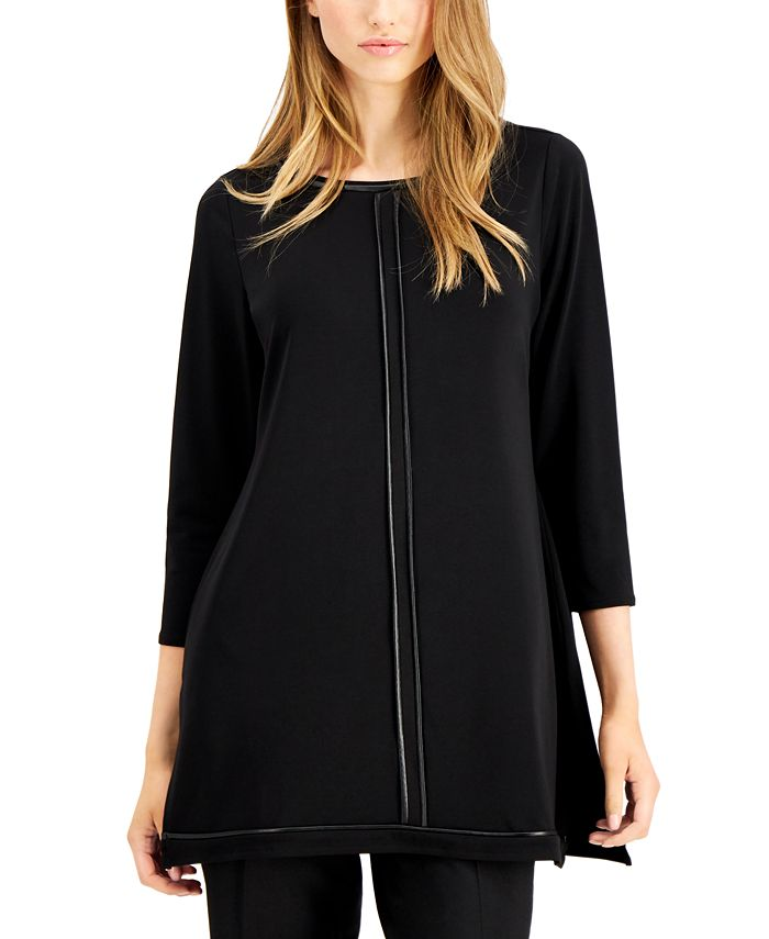 Alfani - Piped-Detail Tunic Top