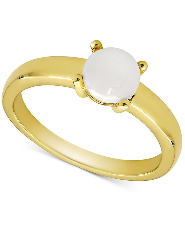 Macy's Opal Solitaire Ring (1/2 ct. t.w.) in 18k Gold-Plated Sterling Silver