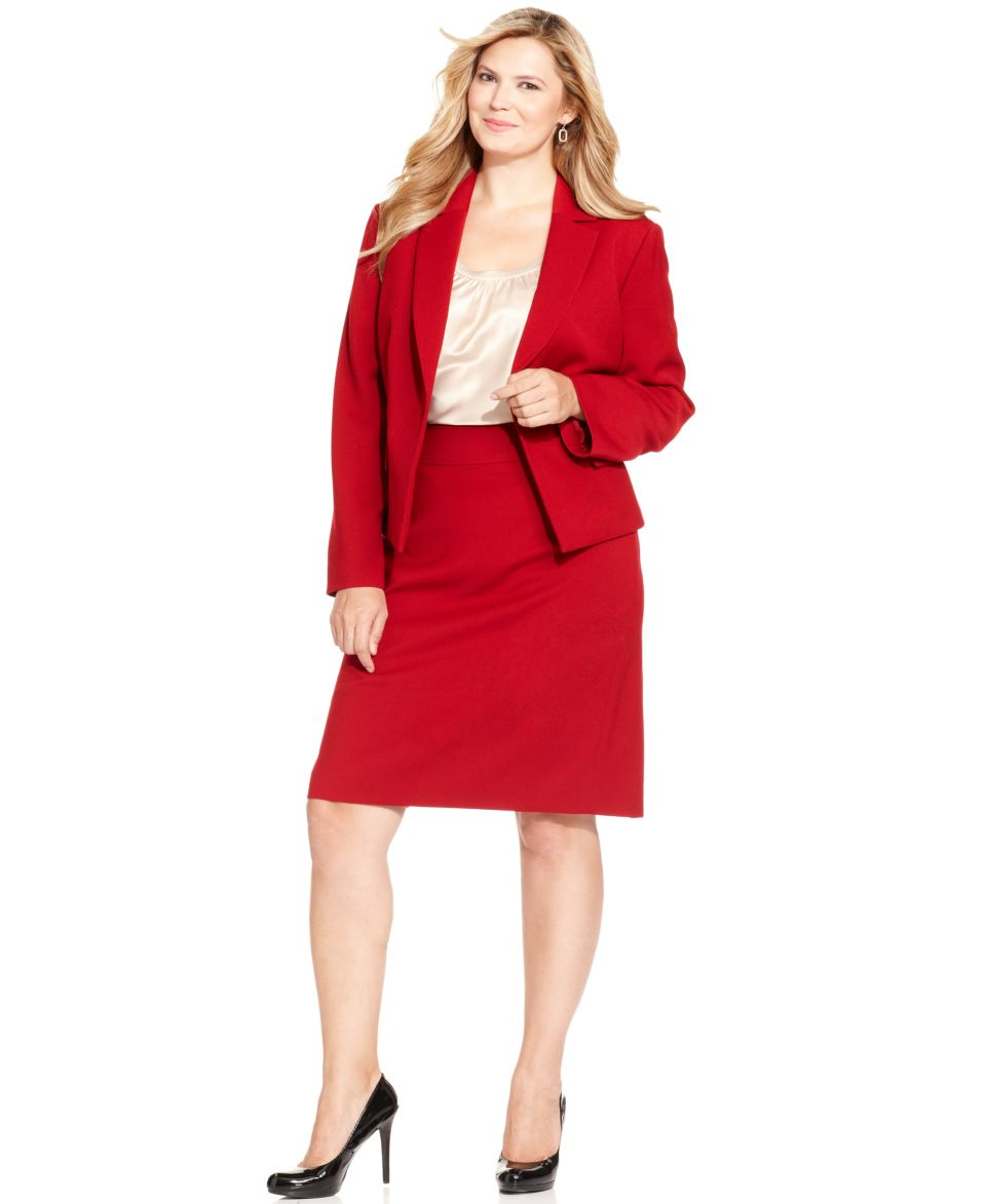 Holiday 2013 Plus Size Red Hot Satin Skirt Suit Look   Plus Sizes