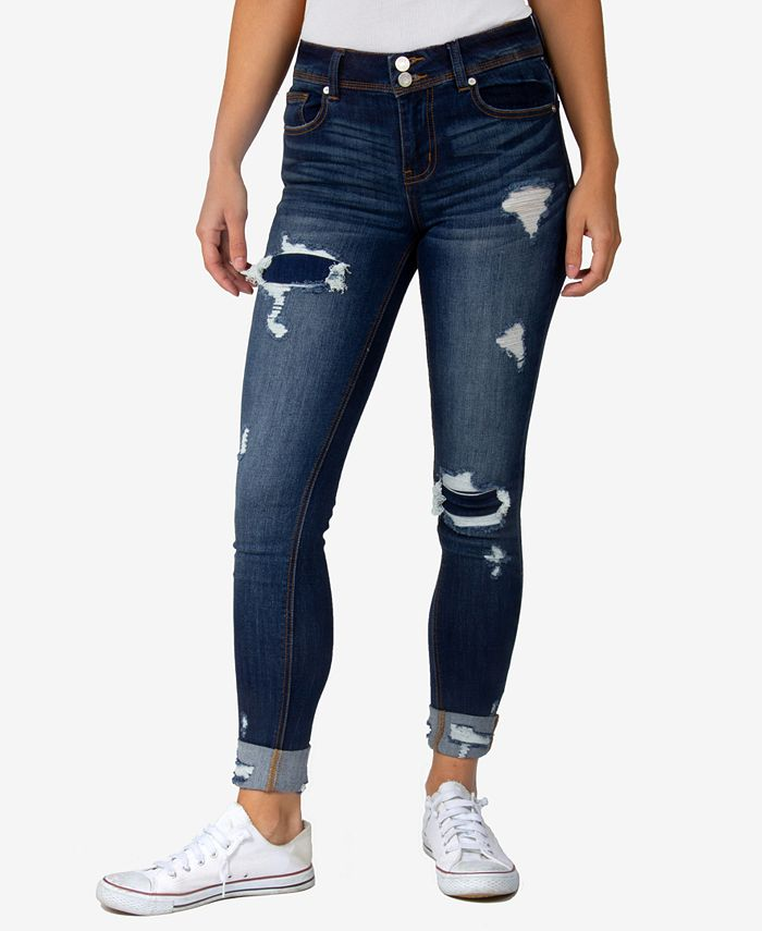 Indigo Rein - Juniors' Two-Button Cuffed Destructed Skinny Jeans
