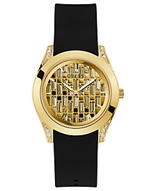 GUESS Women's Black Silicone Strap Watch 39mm