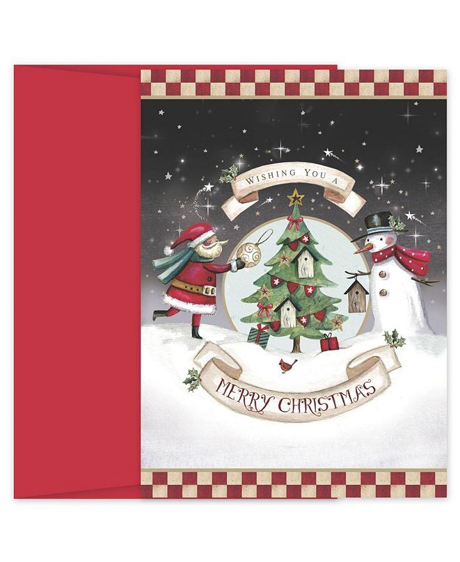 Masterpiece Cards Santa and Snowman Decorating Holiday Boxed Cards, 18 Cards and 18 Envelopes