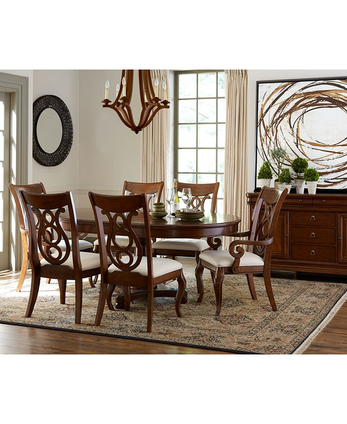 Furniture Closeout Bordeaux Pedestal Round Dining Room Furniture Collection Created For Macy S Reviews Furniture Macy S