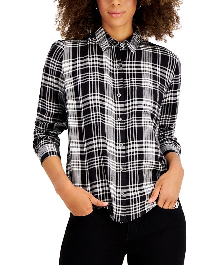 Style & Co - Plaid Button-Front Top
