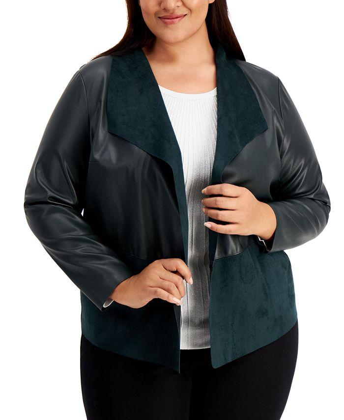 Alfani - Plus Size Mixed-Media Jacket