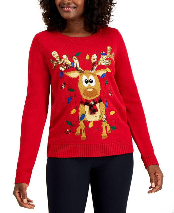 Karen Scott - Sequin Reindeer Sweater, Created for Macy's