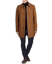 Cole Haan Men's Classic-Fit Car Coat with Faux-Leather Trim